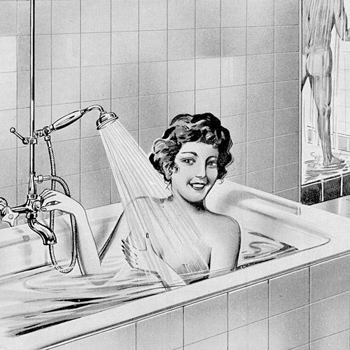 Altes Werbemotiv einer Frau die mit hansgrohe Armaturen badet