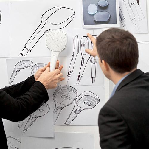 Entwicklung eines guten Design-Duschkopfes am Zeichenbrett